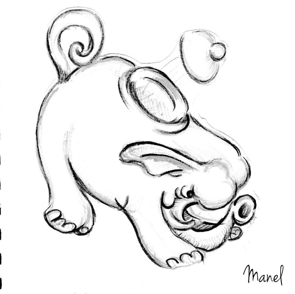 Fighting elephant_pencil sketch